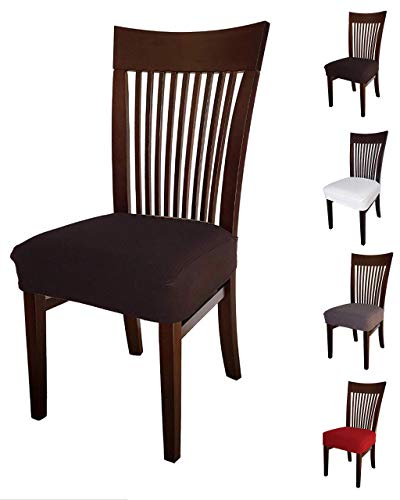 Jacalee Stretch Spandex Jacquard Dining Room Chair Seat Covers, Removable Washable Anti-Dust Dinning Upholstered Chair Seat Cushion Slipcovers (2 Black)