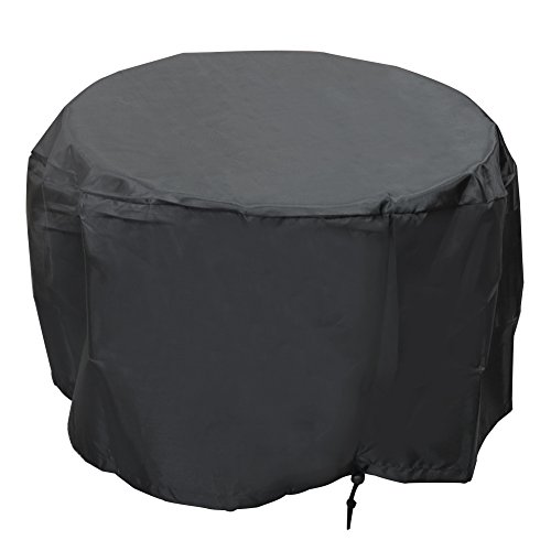 2NB Outdoor Waterproof BBQ Grill Patio Garden Round Fire Pit Cover Accessories 30 inch Black