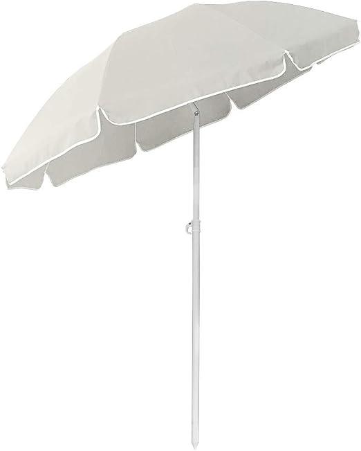 UISEBRT - Sombrilla Redonda Plegable de 200 cm, protección UV 20+, para jardín, terraza, Mercado, para Playa, balcón, jardín o terraza, Beige: Amazon.es: Jardín