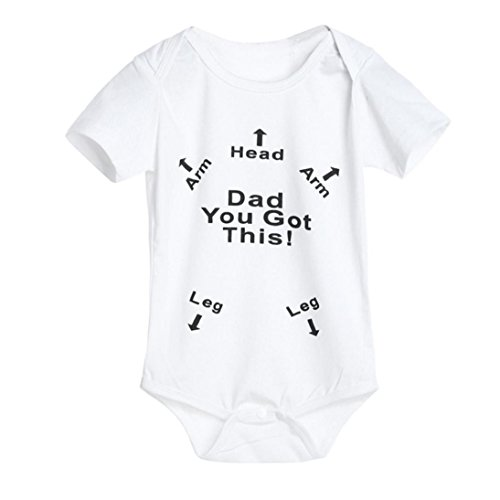 Dad You Got This Cloth,Fheaven Newborn Baby Boys Girls Print Romper Jumpsuit Outfits (6-12M, White)