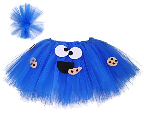 Tutu Dreams Cookie Monster Costume for Baby Girls 1st Birthday Outfit Babies Halloween Candy Dress Up -