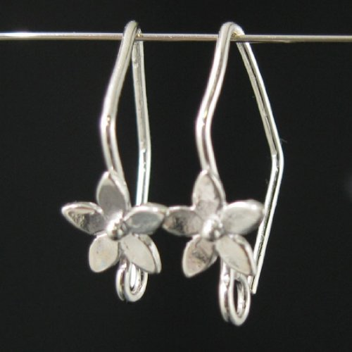 Sterling Silver Fancy Earwires with Flower 20 By 11mm (Sold Per 2 Pairs, 4 Pieces)
