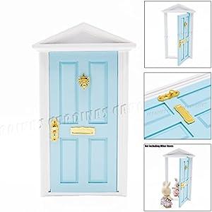 Odoria 1 12 miniature blue fairy door with doorlock and for Amazon uk fairy doors