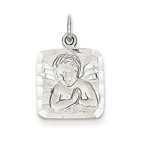 Jewelry Adviser Charms 14k White Gold Satin & Diamond-cut Angel Charm