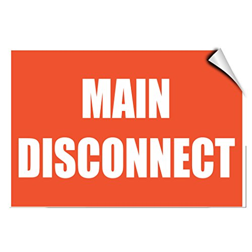 Main Disconnect Hazard Emergency LABEL DECAL STICKER 7 inches x 5 - Disconnect Main