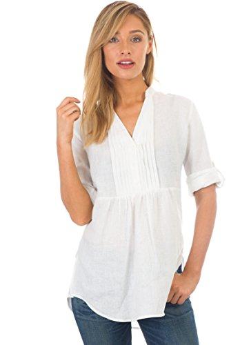 (CAMIXA Women's Casual Button-up Popover Shirt Effortless Work to Weekend Basic XXL White Pintuck)