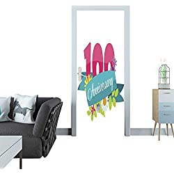 Warm Family Glass Door Sticker Decals Cute Template 100 Years Anniversary Sign Vector Illustration 3D Door Sticker 30x79(77x200 cm)