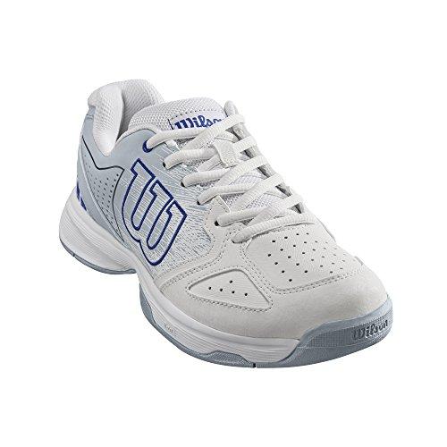 Wilson Stroke Jr, Zapatillas de Tenis Niño, Todos Niveles y terrenos, Tejido/Sintético Blanco/Azul (White/Pearl Blue/Dazzling Blue)