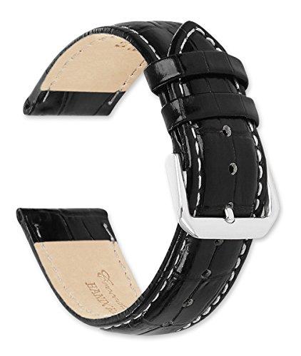 deBeer Crocodile Grain Watch Band (White Stitching) Black 19mm Watch Strap in USA