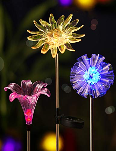 BRIGHT ZEAL [Set of 3] LED Color Changing Solar Stake Lights Outdoor (Dandelion, Lily, Sunflower) - Solar Light LED Garden Decor Statues - Patio Lights LED Outdoor Multicolor Changing LED Lights ()