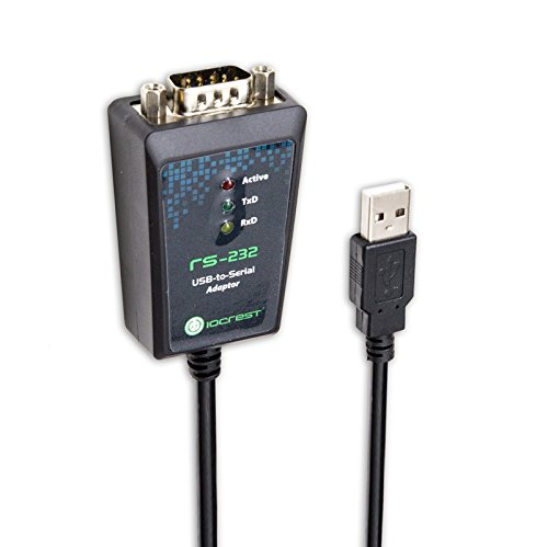 IOCrest SY-ADA15044 USB 2.0 to RS232 DB9 Serial Cable Male A Converter Adapter with FTDI Chipset for Win10/8.1, Compatible with 8/7/Vista/XP/2000/CE and Mac OS X 10.6 and Linux (6') 232 Data Converter Unit