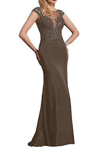 Braun Spitze Abendkleider mit Brautmutterkleder mia Dunkel Kurzarm Fuchsia Festlichkleider Braut Partykleider Langes La qw176TXxOx