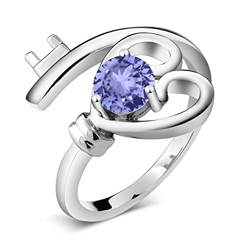 Gem Stone King Blue Tanzanite 925 Sterling Silver Heart Key Ring 0.46 Ct Round (Size 7) ()
