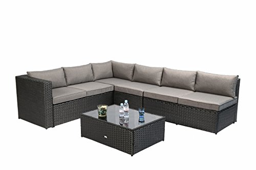 Irelia Homes 4 Piece, 5-seater Sectional Sofa Outdoor Furniture for Patio Backyard, Black