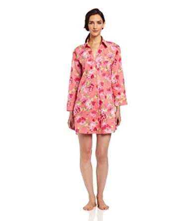 BedHead Pajamas Women's Classic Voile Nightshirt, Coral/Rose, X-Small