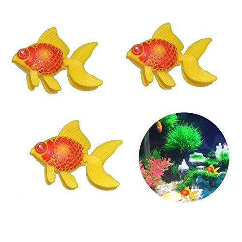Loweryeah 3 Pcs Plastic Aquarium Gold Fish Swimming Gold Fish Tank Decoration Yellow Red
