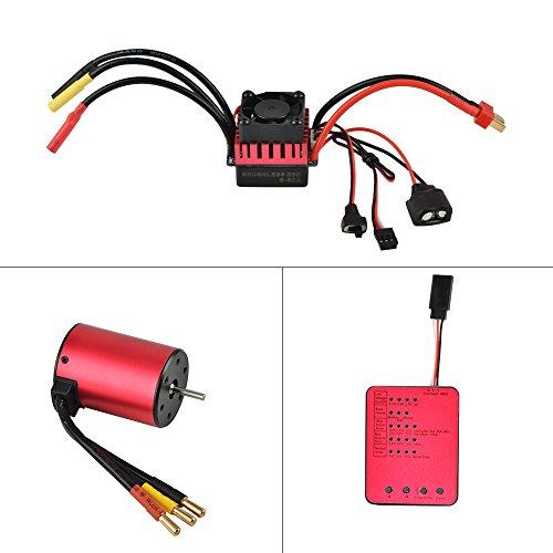 Jrelecs S3650 4300KV Sensorless Brushless Motor 60A Brushless ESC and Program Card Combo Set for 1/10 RC Car Truck
