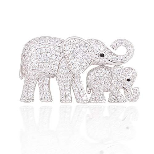 OBONNIE Cute Mother and Baby Elephants Brooch Pins Crystal Rhinestone Animal Kingdom Breastpin Broach (Silver)