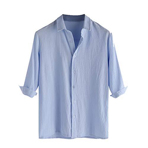 (Fun1980s Mens Linen Shirt Casual Button Down 3/4 Sleeve Cotton Linen Curved Hem Lightweight Basic Regular Fit Summer Beach Tops)