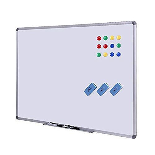 Frame Steel Chalkboard Aluminum - Dry Erase Board - White Board 48 x 36 Magnetic Dry Erase Board with Aluminum Frame, Large White Board Commercial Quality Wall Size White Board, Magnetic Board with 3 Erasers, 4 Markers and 12 Magnets