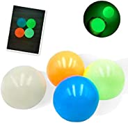 4Pcs Luminous Sticky Wall Target Ball Sticky Beady Balls Stress Reliever Decompression Toys, Glow in The Dark,