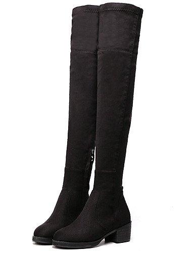 Tacón Mujer Tacones Punta Vellón Negro Black Robusto Eu39 Uk6 Redonda Zapatos Vestido Cn39 De Xzz us8 Plataforma Botas qwACtH
