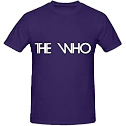 Who The Logo Electronica Men O Neck Printed Tee Shirts Purple