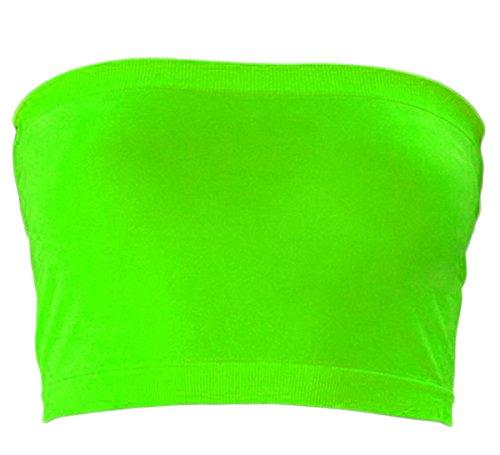 less Tube Bra Bandeau Top (Plus Size, Neon Green) ()