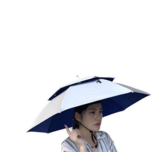 Multicolor Outdoor Foldable Double Umbrella Hat Sun Rain Cap Camping Fishing Laimeng_World ()