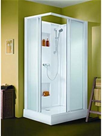 Cabina de ducha rectangular izibox 120 x 70 cm, instalación en ángulo, equipo Confort, con grifo monomando, puertas corredera: Amazon.es: Hogar