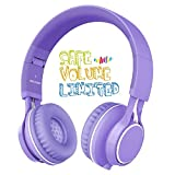 Kids Headphones, HD30 Volume Limiting Over Ear Kids Headset with Microphone for Girls