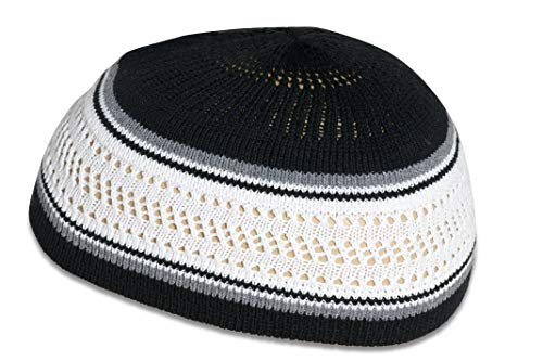 Muslim Bookmark Stretchy Elastic Beanie Kufi Skull Cap Hats Featuring Cool Designs and Stripes (White & Black w/Gray Stripes) (Kufi Hats Indonesia Style)