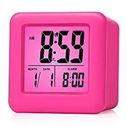 Plumeet Easy Setting Travel Alarm Clock with Snooze, Soft Night Light,Cute Silicone Cover, Digital Alarm Clock Large Display Time/Date/Alarm, Batteries Powered (Pink)