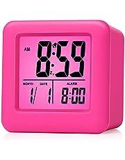 Plumeet Reloj Despertador Digital con Snooze, luz de Noche Suave, Pantalla Grande con Hora, Fecha y Alarma, Alarma con Sonido Ascendente y tamaño portátil, niños