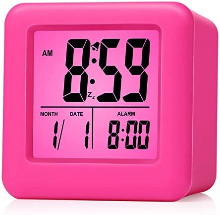Plumeet Digital Alarm Clocks Travel Clock with Snooze and Pink Nightlight – Easy Setting Clock Display Time, Date, Alarm – Ascending Sound – Battery Powered Pink