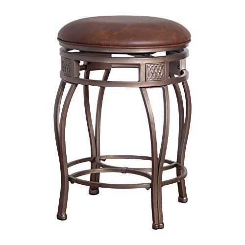 Hillsdale Montello Backless Swivel Bar Stool, Old Steel Finish with Faux Brown Leather