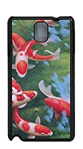Plastic Phone Case Back Cover cell phone case for samsung galaxy note3 - A group of red and white koi