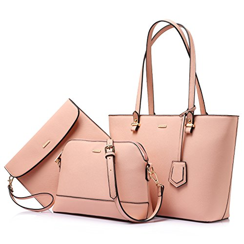 (Handbags for Women Tote Bags Shoulder Bag Top Handle Satchel Sets Designer Purse Set 3PCS Handy Chic Pink )