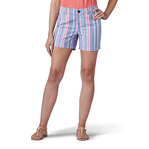 LEE Women's Regular Fit Chino Short, Dusty Blue Bermuda Stripe, -