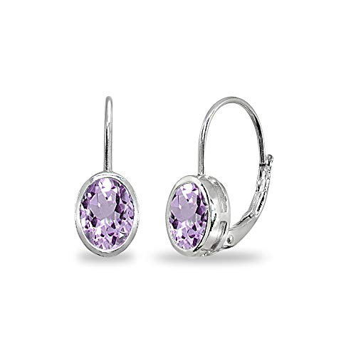 Sterling Silver Amethyst 7x5mm Oval Bezel-Set Dainty Leverback Earrings for Women Teen Girls