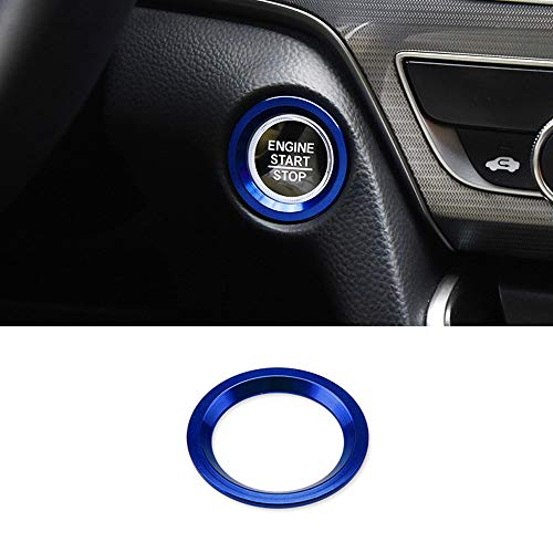 Thor-Ind Aluminum Car Engine Start Stop Button Cover Trim for 10th Honda Accord Sedan Sport EX EX-L LX 2018 2019 Ignition Start Button Surrounding Decoration Ring (Start Button-Blue)