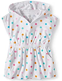 Wonder Nation Girls Hooded Pullover Terry Swimsuit Cover Up, Dots, 5T