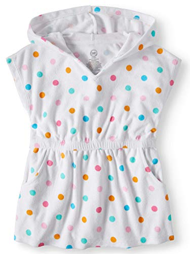 - Wonder Nation Girls Hooded Pullover Terry Swimsuit Cover Up, Size-3T, White Dots Pullover