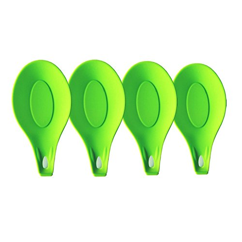 PurchaseAct Kitchen Silicone Spoon Rest Set -Jumbo Spoon Rest Set Soft & Unbreakable, Heat Resistant & Odor Resistant - Use for Resting Kitchen Utensil, Spoon, Spatula, Brush, Cutlery ,Set of 4 (Green)
