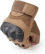 Outdoor Khaki Gloves for Men Women Sports Apparel for Cycling Sporting Camping Hiking Half Finger by TopSmart