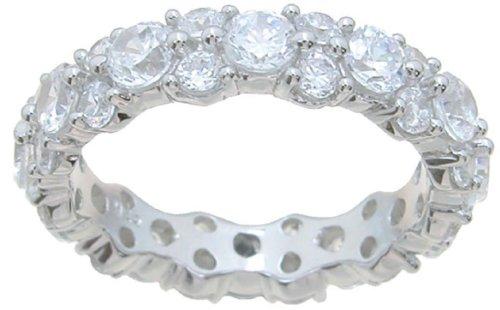 LaRaso & Co Cubic Zirconia CZ Sterling Silver Wedding Band Eternity Anniversary Ring Size 9 by LaRaso & Co