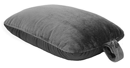 World's Best Microfiber Feather Soft Retangular Travel Pillow, Charcoal,