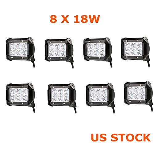 Primeprolight 8Pcs 18W Led Work Light 4 Inches Spot Beam for Off-road, Emergency & Rescue Vehicle, ATV/UTV/Golf cart, Boat & marine, Agriculture Vehicle, Mining and Heavy Equipment