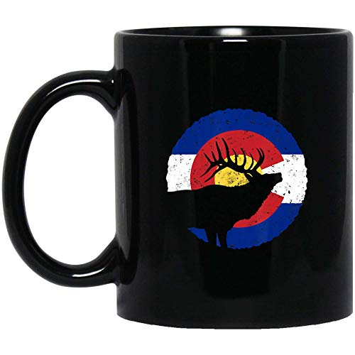 Colorado Elk Hunting CO State Flag Hunter Coffee Mug 11oz Tea Cups Gift (Black Mug 11oz;Black;11oz)