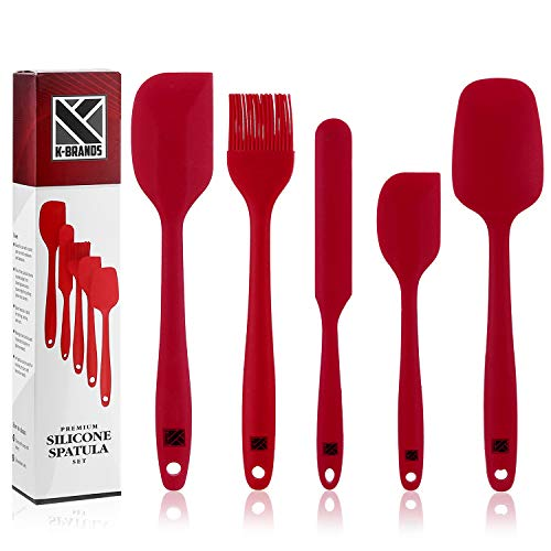 (K-Brands Silicone Spatula Set - Heat Resistant & Non-Stick Spatulas with Stainless Steel Core for Cooking, Baking, and Mixing (Pack of 5, Red))